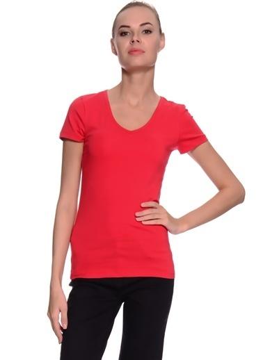 Limon Company Noos V Yaka Pamuklu Standart Fit Kadın Tshirt Kırmızı